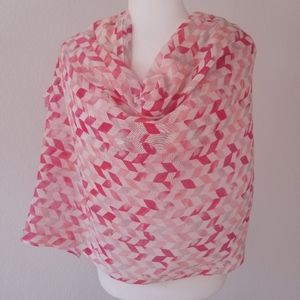 Accessories - RECTANGLE GEOMETRICAL SCARF, ORANGE AND PINK